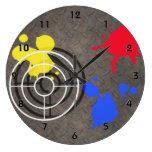 Rusted Metal Grate  Gun Sight and Paint Splatters Clocks
