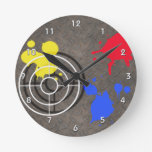 Rusted Metal Grate  Gun Sight and Paint Splatters Round Wall Clock