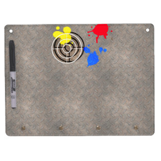 Rusted Metal Grate with Paintball Gunsight Dry Erase Board With Keychain Holder