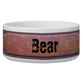 Rusted Metal Name Plate Dog Bowl