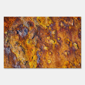 Rusted metal surface lawn sign