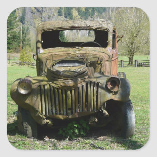 Rusted Old Junker Truck Square Sticker