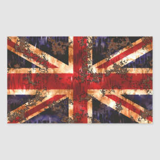 Rusted Patriotic United Kingdom Flag Rectangular Sticker