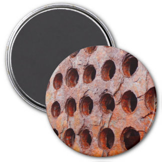 Rusted Perforated Metal Large Round Magnet