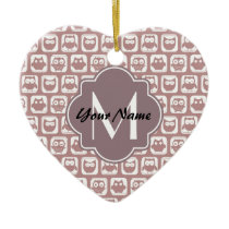 Rusted Pink Owls Custom Monogram, Personalized Ceramic Ornament