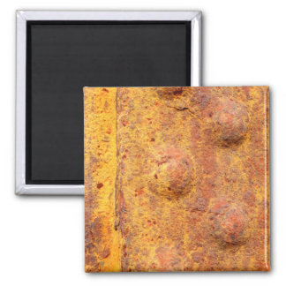 Rusted Riveted Metal Square Magnet