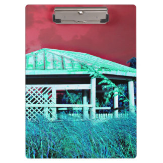rusted roof beach dune building green red clipboard
