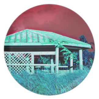 rusted roof beach dune building green red party plate