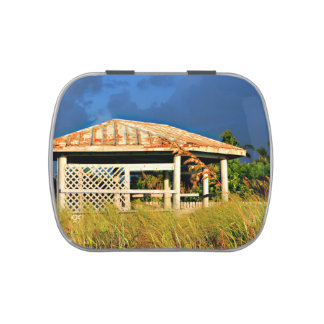 rusted roof beach dune building in Florida Jelly Belly Tin