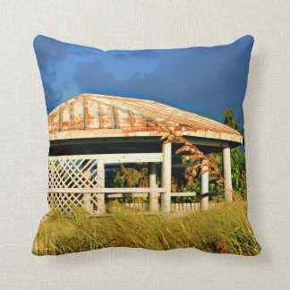 rusted roof beach dune building in Florida Throw Pillow