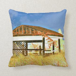 rusted roof beach dune building invert blue pillow