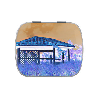rusted roof beach dune building invert jelly belly tins