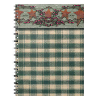 Rusted Stars Green Plaid Spiral Note Books