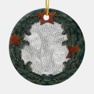 Rusted Stars Pine Wreath Ceramic Ornament