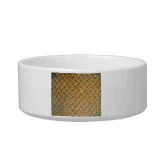 Rusted Yellow Metal Tread Texture Pet Water Bowls