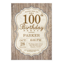 Rustic 100th Birthday Invitation Wood