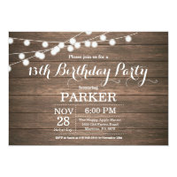 Rustic 13th Birthday Invitation Wood