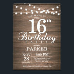 """Rustic 16th Birthday Invitation String Lights Wood<br><div class=""""desc"""">Rustic 16th Birthday Invitation with String Lights Wood Background. 16th 18th 21st 30th 40th 50th 60th 70th 80th 90th 100th,  Any age. For further customization,  please click the """"Customize it"""" button and use our design tool to modify this template.</div>"""