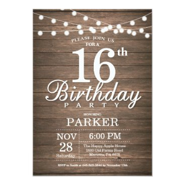 Beach Themed Rustic 16th Birthday Invitation String Lights Wood