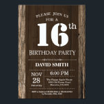 Rustic 16th Birthday Invitation Vintage Woodbrdiv Classdesc