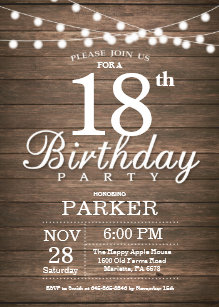 Rustic 18th Birthday Invitation String Lights Wood