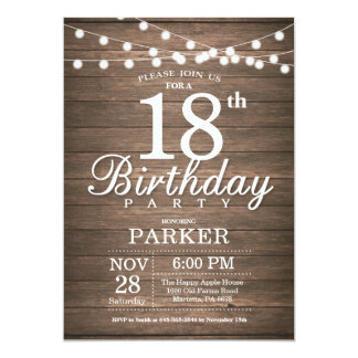 Rustic 18th Birthday Invitation String Lights Wood