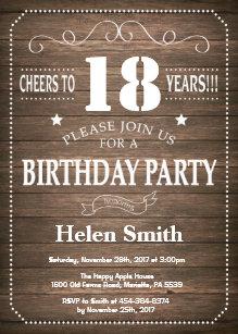 Rustic 18th Birthday Invitation Vintage Retro