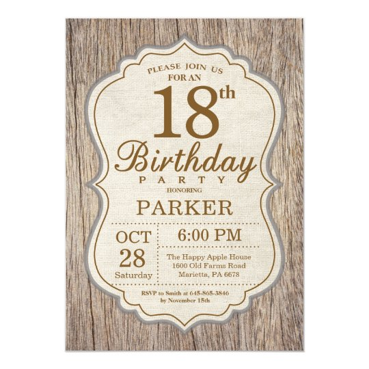 Rustic 18th Birthday Invitation Wood