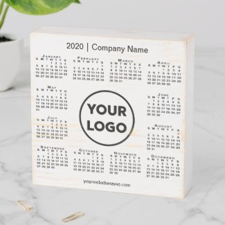 Rustic 2020 Calendar with Company Logo and Name Wooden Box Sign