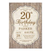 Rustic 20th Birthday Invitation Wood