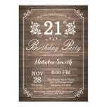 Rustic 21st Birthday Invitation Floral