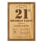 Rustic 21st Birthday Invitation Vintage Wood