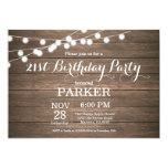Rustic 21st Birthday Invitation Wood