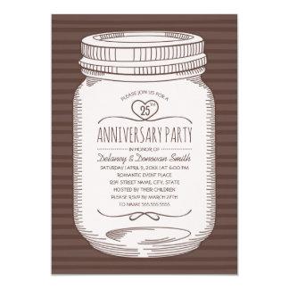 Rustic 25th wedding anniversary Mason Jar Party Card