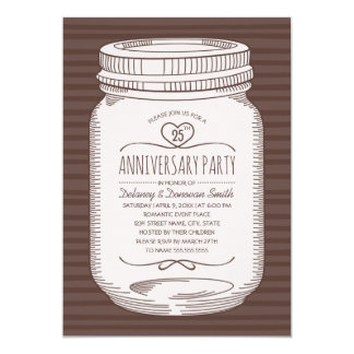 Rustic 25th wedding anniversary Mason Jar Party Invitation