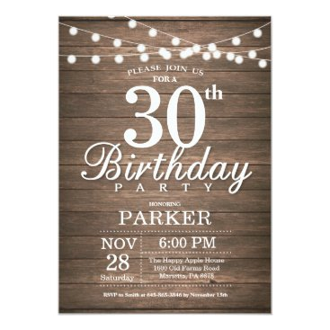 Beach Themed Rustic 30th Birthday Invitation String Lights Wood