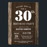 """Rustic 30th Birthday Invitation Vintage Wood<br><div class=""""desc"""">Rustic 30th Birthday Invitation with Rustic Wood Background. Vintage Retro Country. Adult Birthday. Male Men or Women Birthday. Kids Boy or Girl Lady Teen Teenage Bday Invite. 13th 15th 16th 18th 20th 21st 30th 40th 50th 60th 70th 80th 90th 100th. Any Age. For further customization, please click the """"Customize it""""...</div>"""