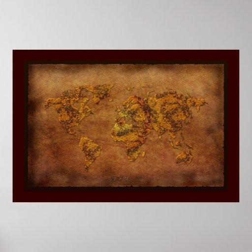 Rustic 3D Rust-tone World Map Art Poster