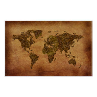Rustic 3D World Map on Parchment-effect Poster