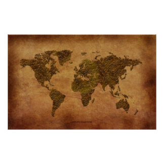 Rustic 3D World Map on Parchment-effect Print
