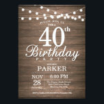 "Rustic 40th Birthday Invitation String Lights Wood<br><div class=""desc"">Rustic 40th Birthday Invitation with String Lights Wood Background. 16th 18th 21st 30th 40th 50th 60th 70th 80th 90th 100th,  Any age. For further customization,  please click the &quot;Customize it&quot; button and use our design tool to modify this template.</div>"