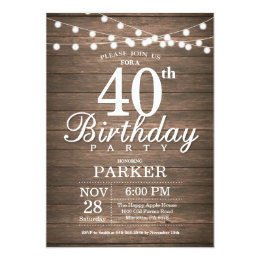 Adult birthday invitations announcements zazzle rustic 40th birthday invitation string lights wood filmwisefo Image collections