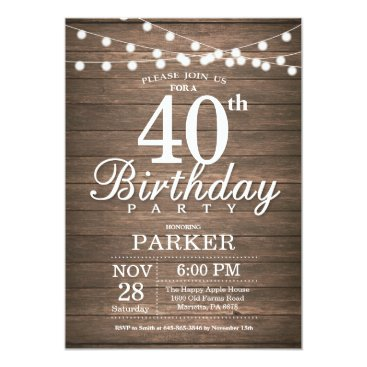 Beach Themed Rustic 40th Birthday Invitation String Lights Wood