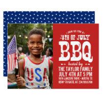 Rustic 4th of July BBQ Photo Invitation