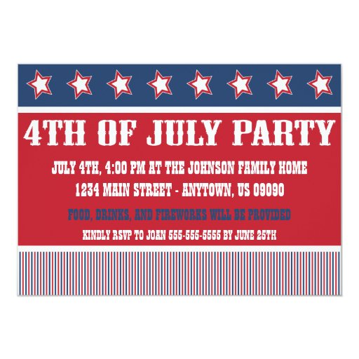 "Rustic 4th Of July Party Invitations 5"" X 7"" Invitation Card"
