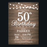 "Rustic 50th Birthday Invitation String Lights Wood<br><div class=""desc"">Rustic 50th Birthday Invitation with String Lights Wood Background. 16th 18th 21st 30th 40th 50th 60th 70th 80th 90th 100th,  Any age. For further customization,  please click the &quot;Customize it&quot; button and use our design tool to modify this template.</div>"