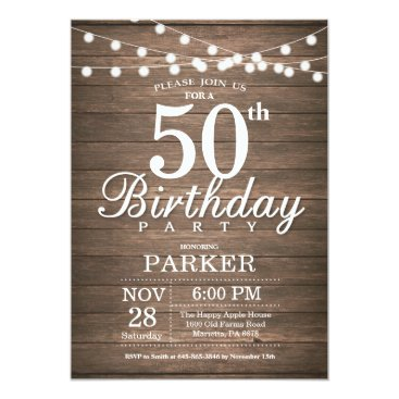 Beach Themed Rustic 50th Birthday Invitation String Lights Wood