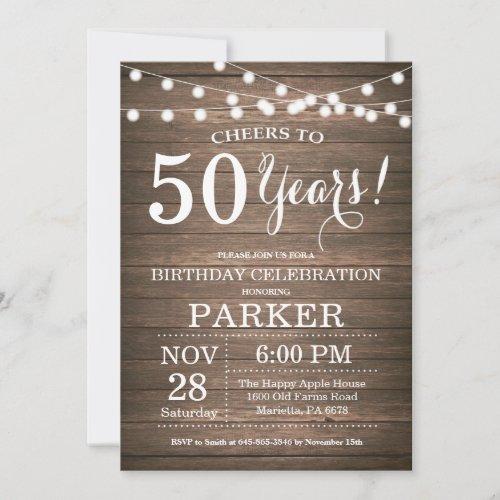 Rustic 50th Birthday Invitation Wood