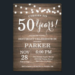 "Rustic 50th Birthday Invitation Wood<br><div class=""desc"">Rustic 50th Birthday Invitation Wood Background with String Lights. 13th 15th 16th 18th 20th 21st 30th 40th 50th 60th 70th 80th 90th 100th, Any age. Adult Birthday. Woman or Man Male Birthday Party. For further customization, please click the ""Customize it"" button and use our design tool to modify this template....</div>"