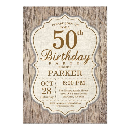 Rustic 50th Birthday Invitation Wood